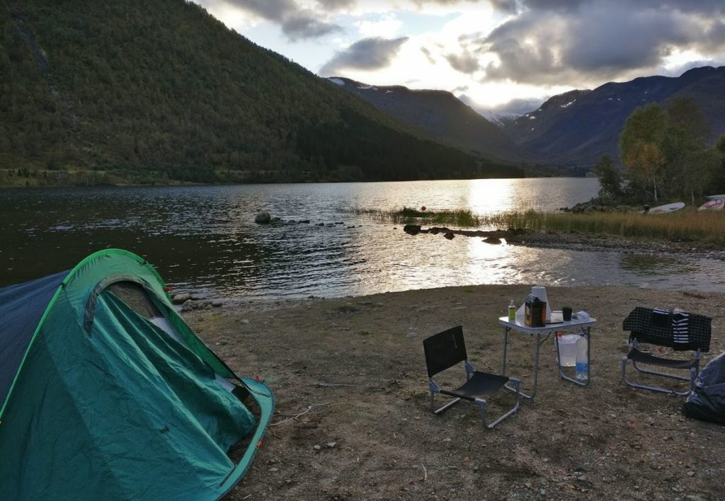 wild camping near a fjord norway