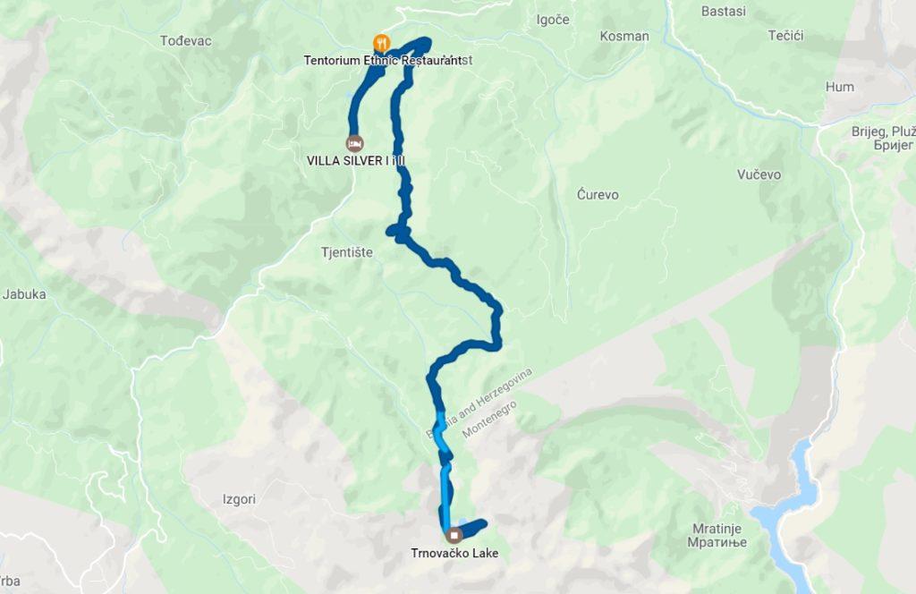 trnovacko lake hike directions timeline
