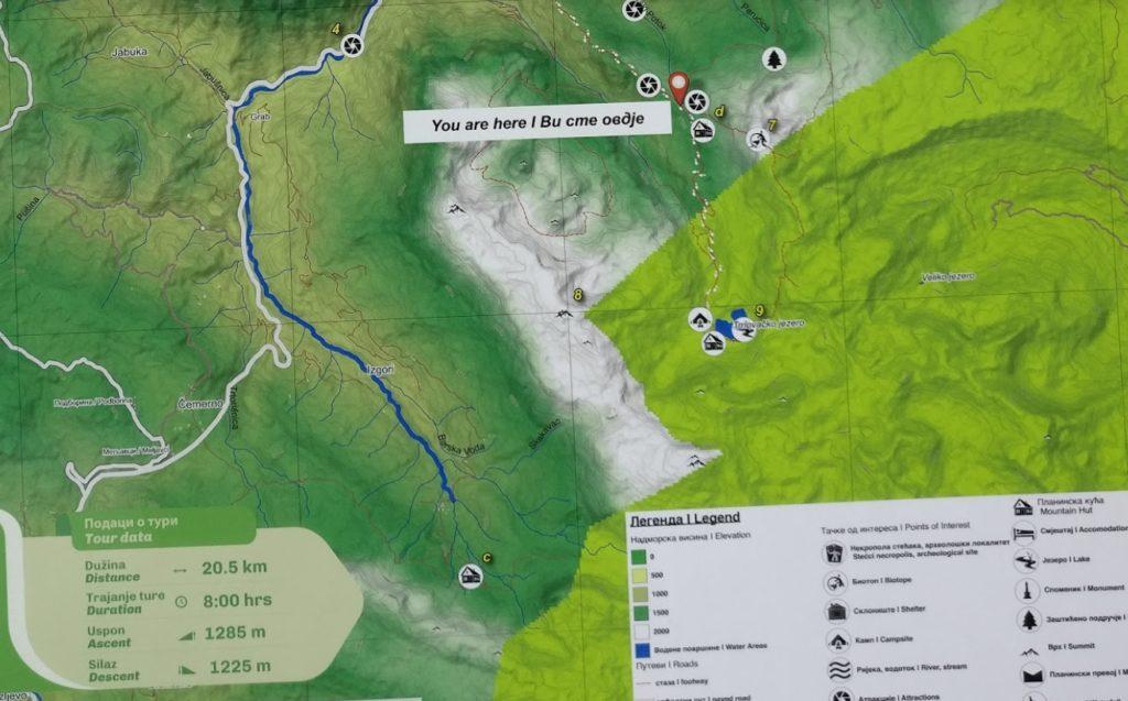 trnovacko lake hike terrain map